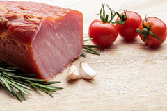 Smoked Ham with mushrooms, tomato, garlic and herbs Royalty Free Stock Photos