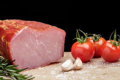 Smoked Ham with mushrooms, tomato, garlic and herbs Stock Photo