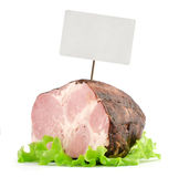 Smoked ham with price tag Stock Images