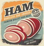 Smoked ham retro poster design. Ham ad. Ham banner. Ham meat. Vintage flyer template for restaurant or butcher shop. Fresh pork meat. Premium quality meat Royalty Free Stock Image