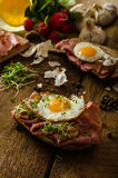 Smoked ham sandwich, rustic bread Stock Photos