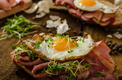 Smoked ham sandwich, rustic bread Royalty Free Stock Photo
