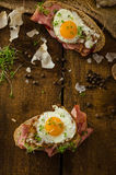Smoked ham sandwich, rustic bread Royalty Free Stock Photography