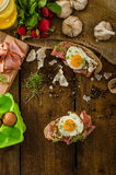 Smoked ham sandwich, rustic bread Royalty Free Stock Images