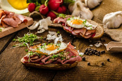 Smoked ham sandwich, rustic bread Stock Photo