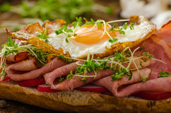 Smoked ham sandwich, rustic bread Stock Images
