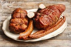 Smoked ham and sausage Stock Photos