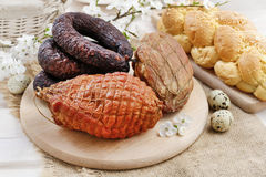 Smoked ham and sausage Royalty Free Stock Images