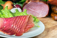 Smoked ham with schwarzwald ham and prosciutto Royalty Free Stock Images