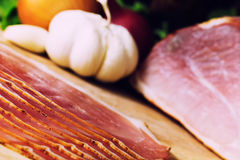 Smoked ham with schwarzwald ham and prosciutto Stock Images