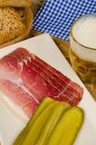 Smoked ham snack, German cuisine Royalty Free Stock Image