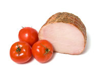Smoked ham and  tomato. Isolated on white background Royalty Free Stock Photos