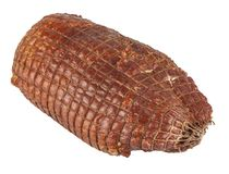 Smoked ham on a white background stock photography