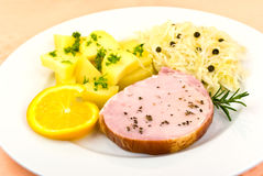 Free Smoked Ham With Cabbage And Boiled Potatoes Stock Images - 6818254
