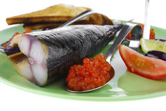 Smoked herring and red caviar Royalty Free Stock Photography