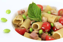 Smoked Honey Ham Rigatoni with Edamame Peas Stock Image