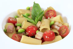 Smoked Honey Ham Rigatoni with Edamame Peas Royalty Free Stock Image