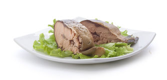 Smoked hunchback salmon. Pieces of smoked hunchback salmon with fresh green lettuce on the white plate Stock Photography