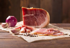 Smoked jambon with onion Royalty Free Stock Images