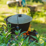 Smoked kettle outdoors Royalty Free Stock Photo