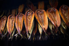 Smoked kippers. In the smoke house Royalty Free Stock Photo
