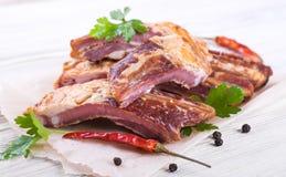 Smoked lamb ribs Stock Images