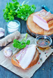 Smoked lard with bread Stock Photography