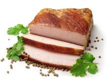 Smoked lard slices Stock Photo