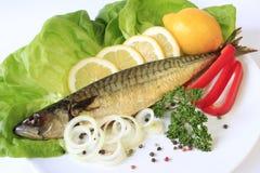Smoked mackerel. Served on lettuce leaves Stock Image