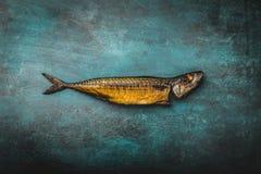 Smoked mackerel on blue. background royalty free stock photography