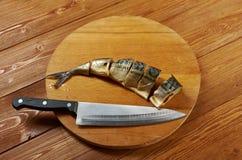 Smoked mackerel cut with slices Stock Photo