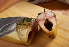 Smoked mackerel cut with slices Stock Photos