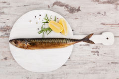 Smoked mackerel fish. Royalty Free Stock Images