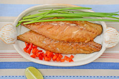 Smoked mackerel with lime Royalty Free Stock Photo