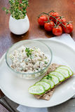 Smoked mackerel pate and  crisp bread with cucumber Royalty Free Stock Photo