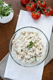 Smoked mackerel pate with eggs and herbs in glass bowl Stock Photos