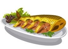 Smoked mackerel on plate. With olives and lettuce Stock Photo