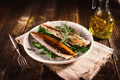 Smoked mackerel stock images