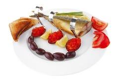 Smoked mackerel and toast Royalty Free Stock Photo