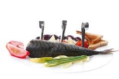 Smoked mackerel and toast Stock Photo