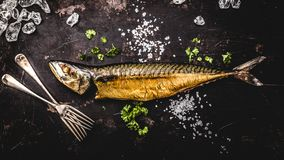 Smoked mackerel on wooden background. top view royalty free stock photos
