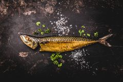 Smoked mackerel on wooden background. top view stock photography