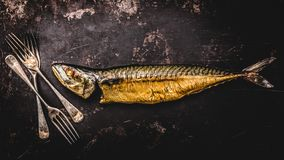 Smoked mackerel on wooden background. top view stock image