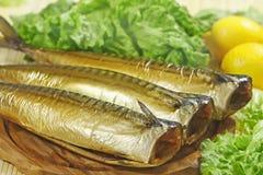 Smoked mackerels. Fresh smoked mackerels with vegetables closeup royalty free stock photo