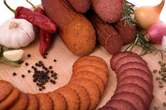 Smoked meat. Products with vegetables Royalty Free Stock Photography