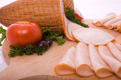 Smoked meat. Products with vegetables Stock Photo