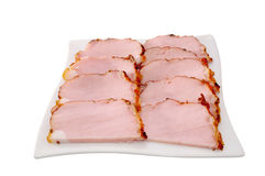 Smoked meat cut. On a white background Stock Images