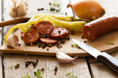 Smoked meat on a cutting board Stock Images