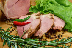 Meat with rosemary and chili 2. Smoked meat with herbs and spices stock image