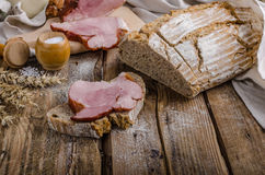 Smoked meat on homemade bread Royalty Free Stock Image